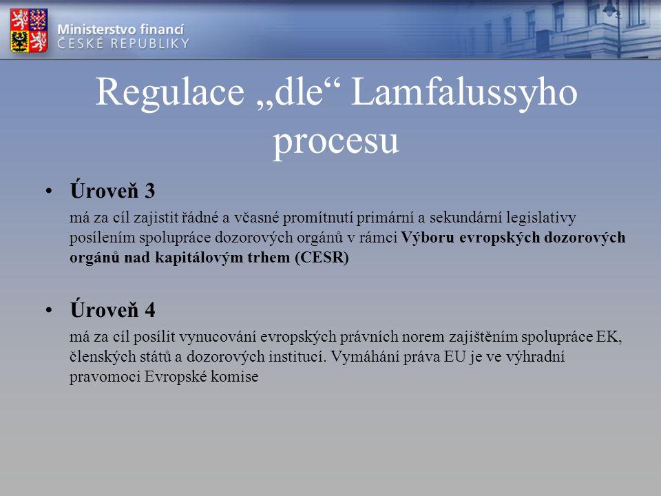 """Regulace """"dle"""" Lamfalussyho procesu Úroveň 3 má za cíl zajistit řádné a včasné promítnutí primární a sekundární legislativy posílením spolupráce dozor"""