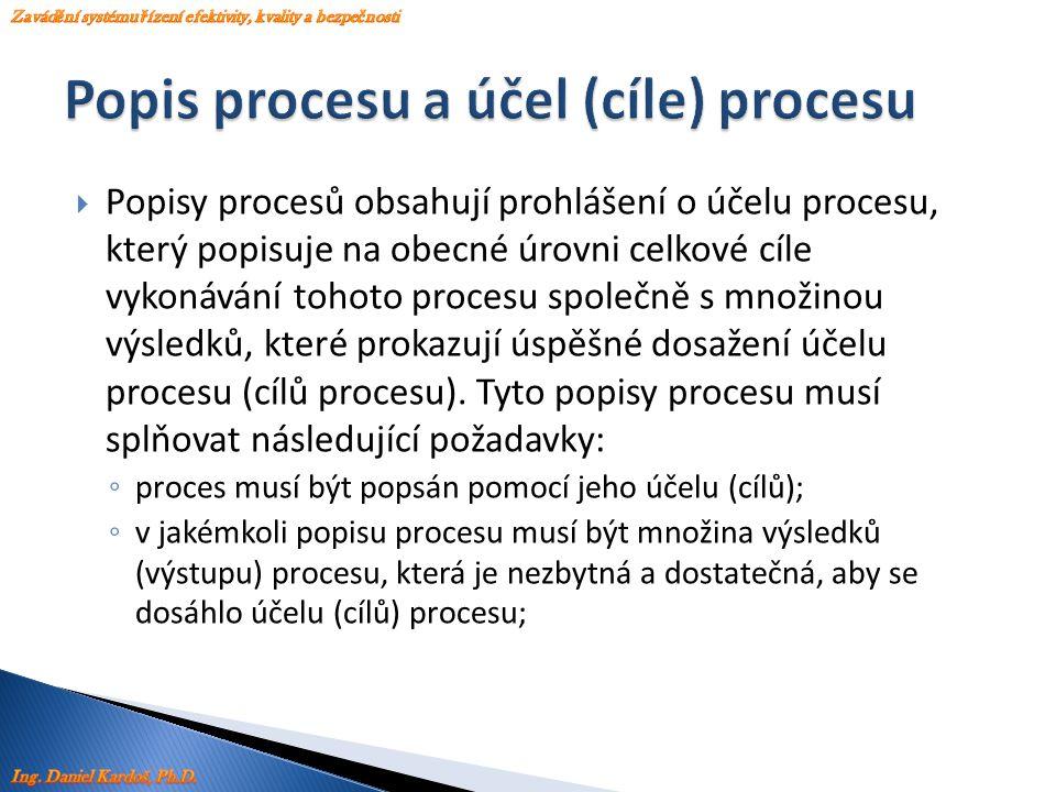  Popisy procesů obsahují prohlášení o účelu procesu, který popisuje na obecné úrovni celkové cíle vykonávání tohoto procesu společně s množinou výsle
