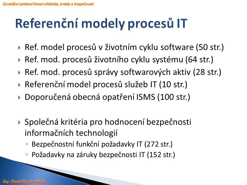  Ref. model procesů v životním cyklu software (50 str.)  Ref. mod. procesů životního cyklu systému (64 str.)  Ref. mod. procesů správy softwarových