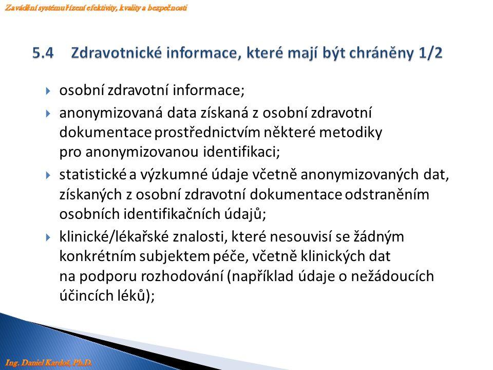  osobní zdravotní informace;  anonymizovaná data získaná z osobní zdravotní dokumentace prostřednictvím některé metodiky pro anonymizovanou identifi