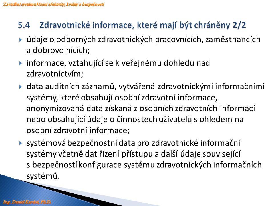  údaje o odborných zdravotnických pracovnících, zaměstnancích a dobrovolnících;  informace, vztahující se k veřejnému dohledu nad zdravotnictvím; 