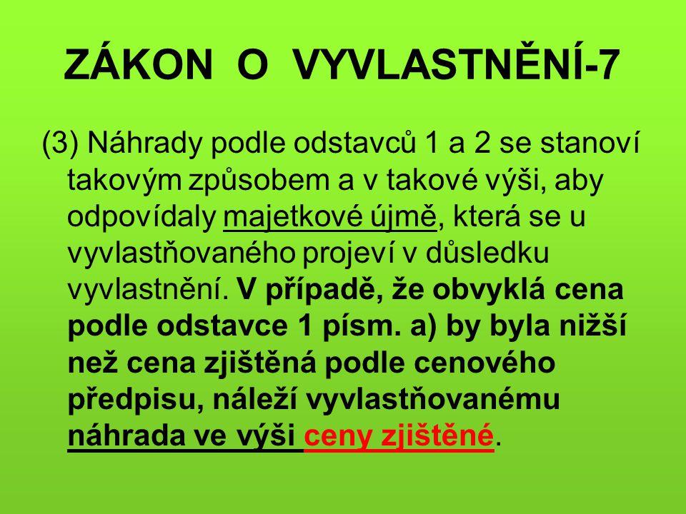 ZÁKON O VYVLASTNĚNÍ-7 (3) Náhrady podle odstavců 1 a 2 se stanoví takovým způsobem a v takové výši, aby odpovídaly majetkové újmě, která se u vyvlastň