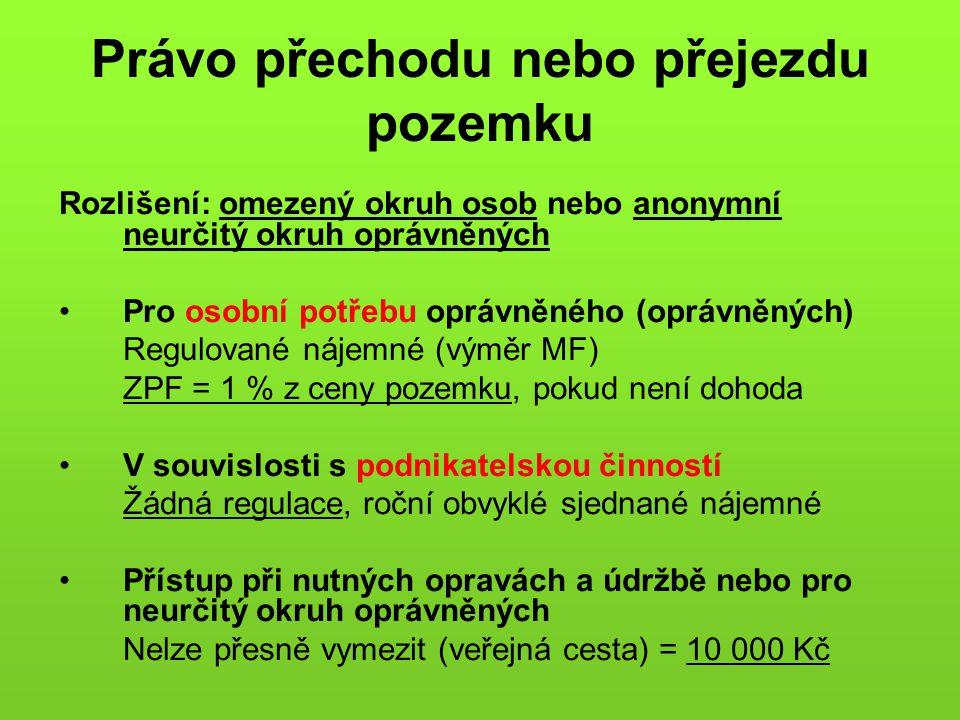 Právo přechodu nebo přejezdu pozemku Rozlišení: omezený okruh osob nebo anonymní neurčitý okruh oprávněných Pro osobní potřebu oprávněného (oprávněnýc