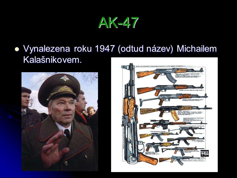 AK-47 Vynalezena roku 1947 (odtud název) Michailem Kalašnikovem. Vynalezena roku 1947 (odtud název) Michailem Kalašnikovem.