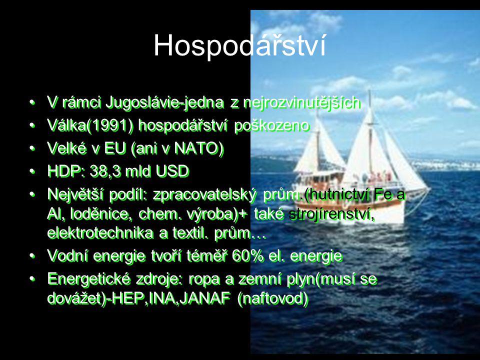 Hospodářství V rámci Jugoslávie-jedna z nejrozvinutějších Válka(1991) hospodářství poškozeno Velké v EU (ani v NATO) HDP: 38,3 mld USD Největší podíl: