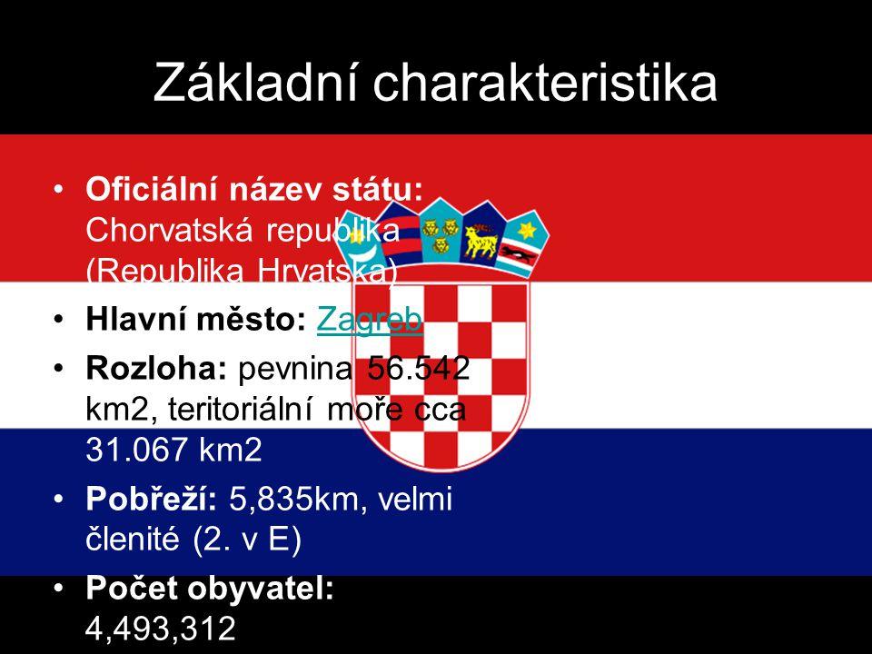 Základní charakteristika Oficiální název státu: Chorvatská republika (Republika Hrvatska) Hlavní město: ZagrebZagreb Rozloha: pevnina 56.542 km2, teri