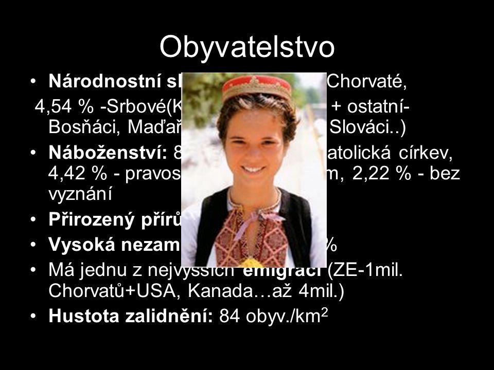 Obyvatelstvo Národnostní složení: 89,63 %- Chorvaté, 4,54 % -Srbové(Krajina+Slavonie) + ostatní- Bosňáci, Maďaři, Češi, Romové, Slováci..) Náboženství