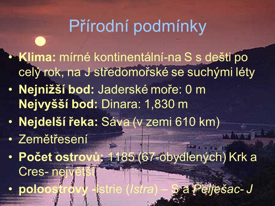 Největší území pokrývá Panonská nížina 40 % rozlohy Chorvatska tvoří pohoří Časté krasové jevy - Dinárská horská soustava z druhohorních vápenců, - část zatopena→ vrcholky vytvořily ostrovy - na dně jeskyně, propasti a např.