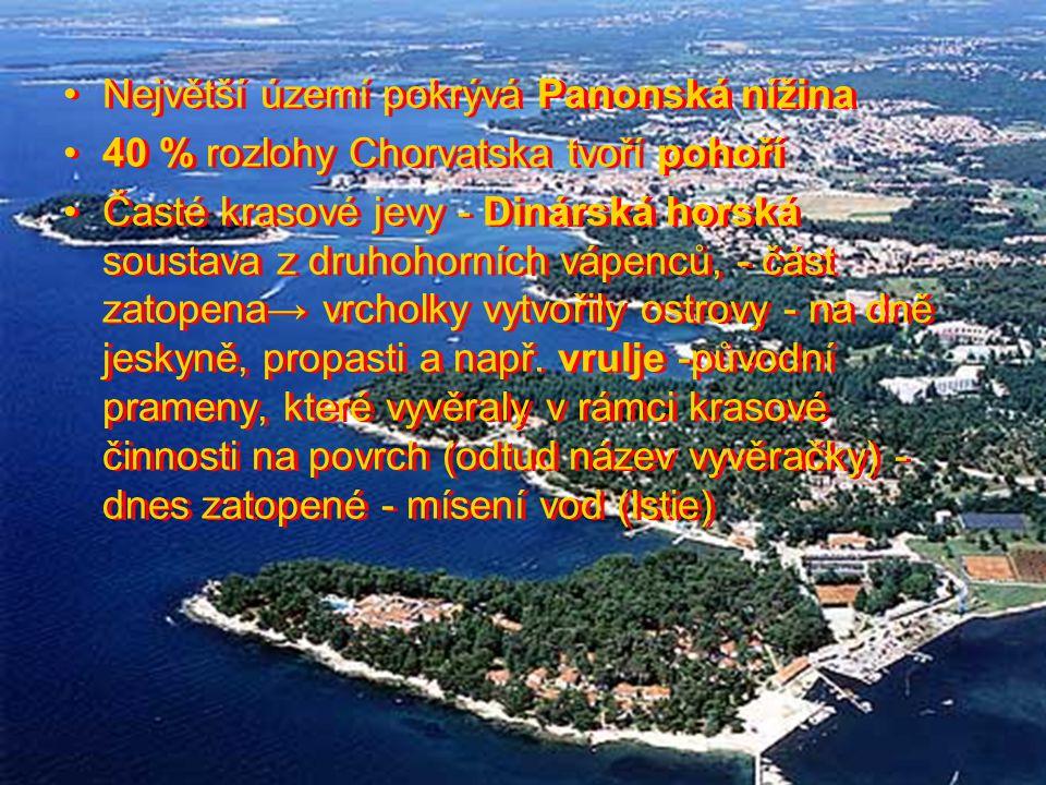 Největší území pokrývá Panonská nížina 40 % rozlohy Chorvatska tvoří pohoří Časté krasové jevy - Dinárská horská soustava z druhohorních vápenců, - čá