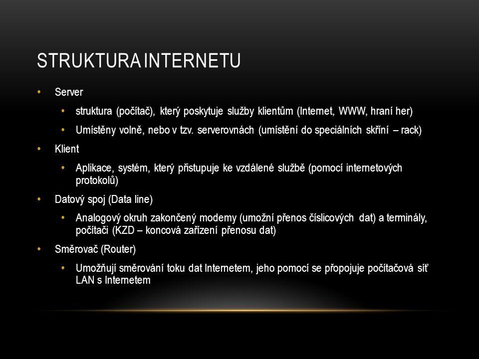 STRUKTURA INTERNETU Server struktura (počítač), který poskytuje služby klientům (Internet, WWW, hraní her) Umístěny volně, nebo v tzv.