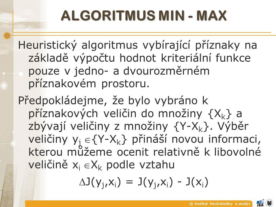 © Institut biostatistiky a analýz ALGORITMUS MIN - MAX Heuristický algoritmus vybírající příznaky na základě výpočtu hodnot kriteriální funkce pouze v jedno- a dvourozměrném příznakovém prostoru.