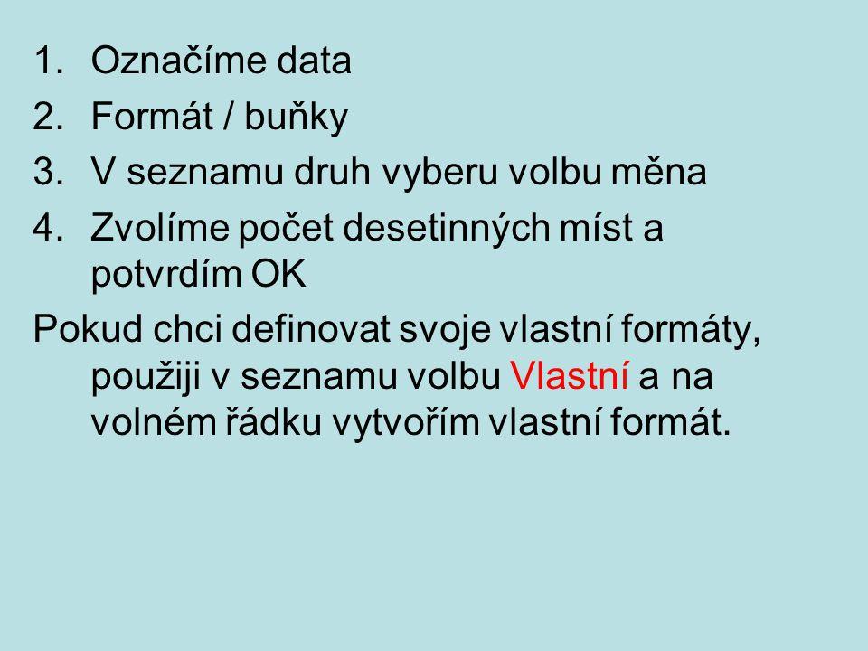 1.Označíme data 2.Formát / buňky 3.V seznamu druh vyberu volbu měna 4.Zvolíme počet desetinných míst a potvrdím OK Pokud chci definovat svoje vlastní formáty, použiji v seznamu volbu Vlastní a na volném řádku vytvořím vlastní formát.