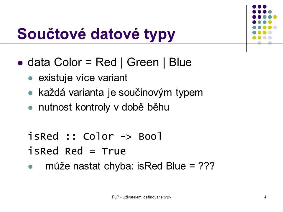 FLP - Uživatelem definované typy4 Součtové datové typy data Color = Red | Green | Blue existuje více variant každá varianta je součinovým typem nutnost kontroly v době běhu isRed :: Color -> Bool isRed Red = True může nastat chyba: isRed Blue = ???