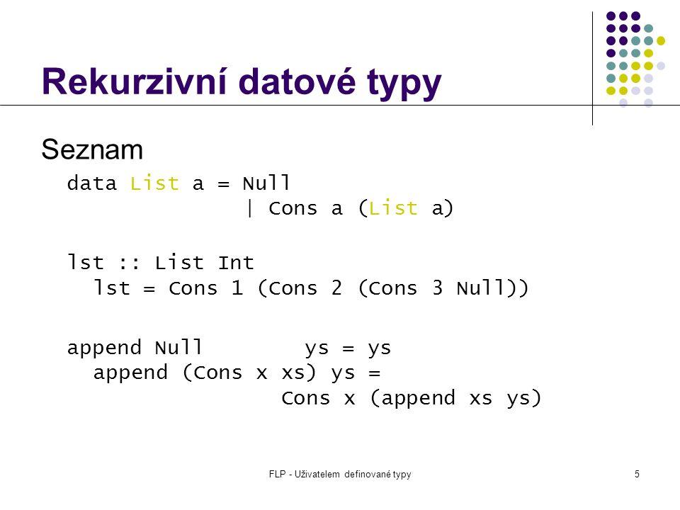 FLP - Uživatelem definované typy5 Rekurzivní datové typy Seznam data List a = Null | Cons a (List a) lst :: List Int lst = Cons 1 (Cons 2 (Cons 3 Null)) append Null ys = ys append (Cons x xs) ys = Cons x (append xs ys)