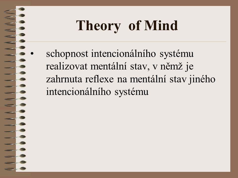 Theory of Mind schopnost intencionálního systému realizovat mentální stav, v němž je zahrnuta reflexe na mentální stav jiného intencionálního systému