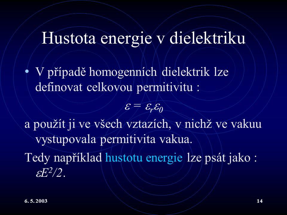 6. 5. 200314 Hustota energie v dielektriku V případě homogenních dielektrik lze definovat celkovou permitivitu :  =  r  0 a použít ji ve všech vzta