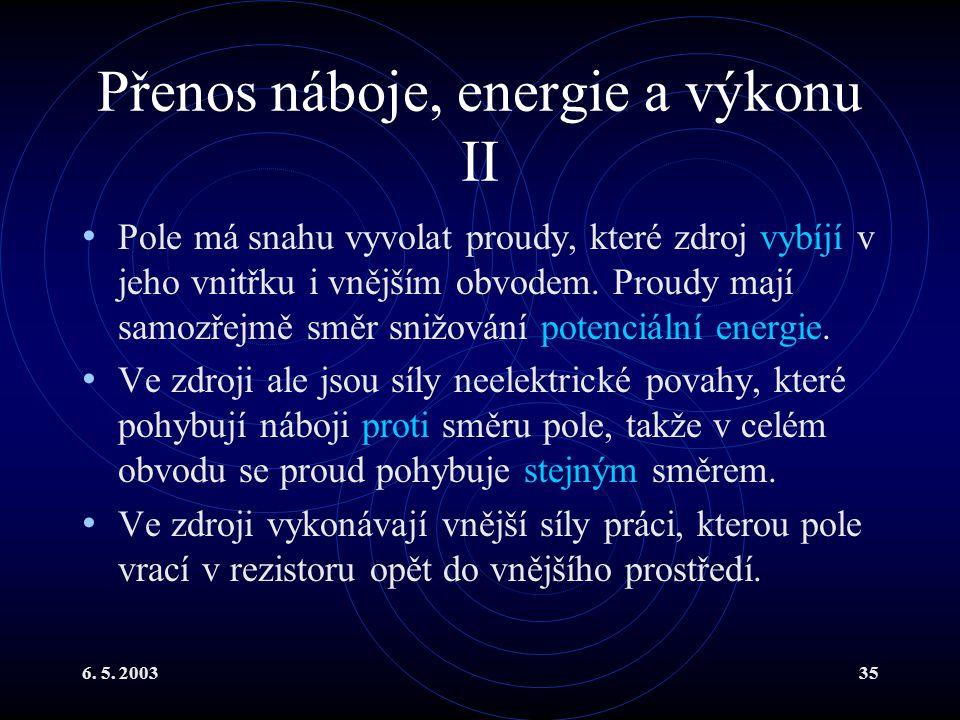 6. 5. 200335 Přenos náboje, energie a výkonu II Pole má snahu vyvolat proudy, které zdroj vybíjí v jeho vnitřku i vnějším obvodem. Proudy mají samozře