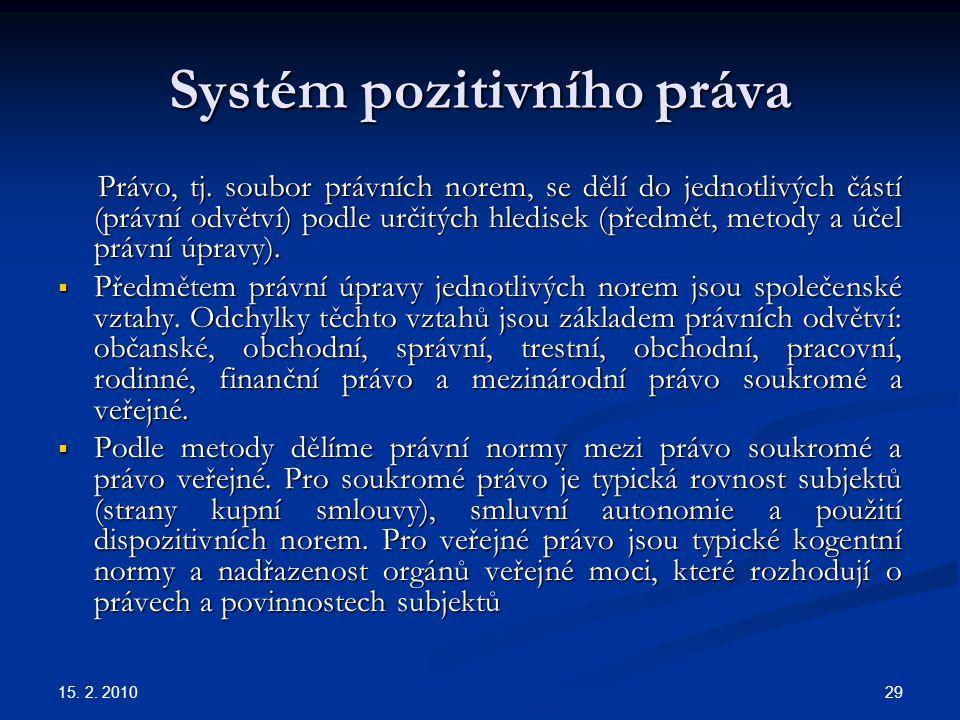 15. 2. 2010 29 Systém pozitivního práva Právo, tj. soubor právních norem, se dělí do jednotlivých částí (právní odvětví) podle určitých hledisek (před