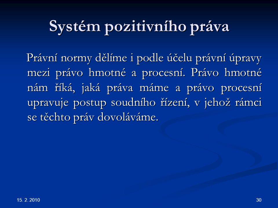 15. 2. 2010 30 Systém pozitivního práva Právní normy dělíme i podle účelu právní úpravy mezi právo hmotné a procesní. Právo hmotné nám říká, jaká práv