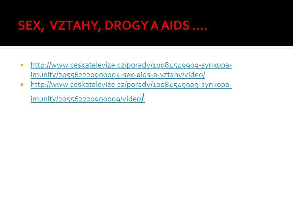  http://www.ceskatelevize.cz/porady/10084549909-synkopa- imunity/205562220900004-sex-aids-a-vztahy/video/ http://www.ceskatelevize.cz/porady/10084549909-synkopa- imunity/205562220900004-sex-aids-a-vztahy/video/  http://www.ceskatelevize.cz/porady/10084549909-synkopa- imunity/205562220900009/video / http://www.ceskatelevize.cz/porady/10084549909-synkopa- imunity/205562220900009/video /