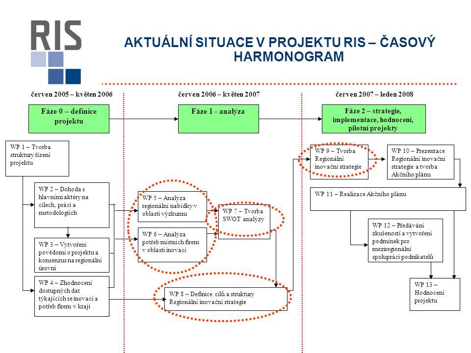 AKTUÁLNÍ SITUACE V PROJEKTU RIS – ČASOVÝ HARMONOGRAM červen 2005 – květen 2006červen 2007 – leden 2008 Fáze 0 – definice projektu Fáze 1 - analýza Fáze 2 – strategie, implementace, hodnocení, pilotní projekty WP 1 – Tvorba struktury řízení projektu WP 2 – Dohoda s hlavními aktéry na cílech, práci a metodologiích WP 3 – Vytvoření povědomí o projektu a konsenzus na regionální úrovni WP 4 – Zhodnocení dostupných dat týkajících se inovací a potřeb firem v kraji WP 5 – Analýza regionální nabídky v oblasti výzkumu WP 7 – Tvorba SWOT analýzy WP 6 – Analýza potřeb místních firem v oblasti inovací WP 8 – Definice cílů a struktury Regionální inovační strategie WP 9 – Tvorba Regionální inovační strategie WP 10 – Prezentace Regionální inovační strategie a tvorba Akčního plánu WP 11 – Realizace Akčního plánu WP 12 – Předávání zkušeností a vytvoření podmínek pro meziregionální spolupráci podnikatelů WP 13 – Hodnocení projektu červen 2006 – květen 2007