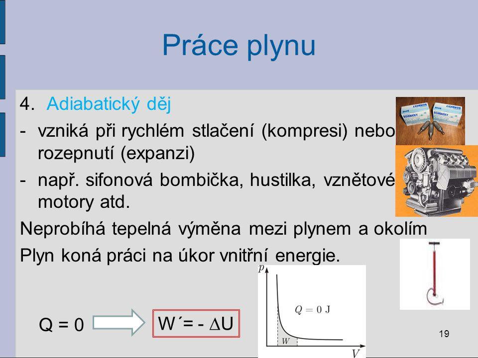 Práce plynu 4.Adiabatický děj -vzniká při rychlém stlačení (kompresi) nebo rozepnutí (expanzi) -např. sifonová bombička, hustilka, vznětové motory atd