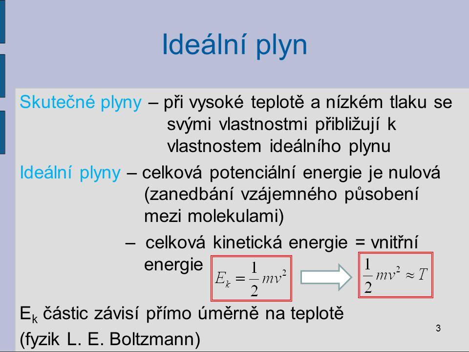 Ideální plyn Skutečné plyny – při vysoké teplotě a nízkém tlaku se svými vlastnostmi přibližují k vlastnostem ideálního plynu Ideální plyny – celková