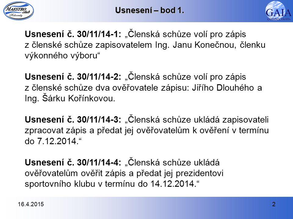 16.4.20152 Usnesení – bod 1. Usnesení č.
