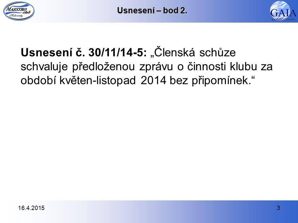 16.4.20153 Usnesení – bod 2. Usnesení č.