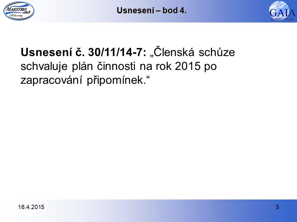 16.4.20155 Usnesení – bod 4. Usnesení č.