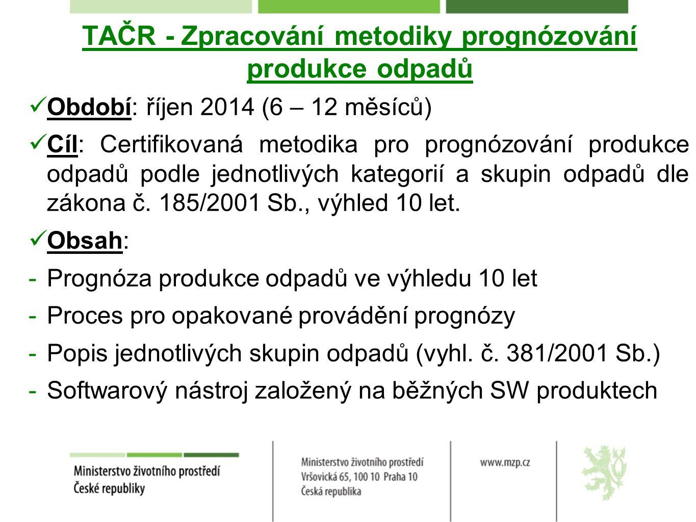 TAČR - Zpracování metodiky prognózování produkce odpadů Období: říjen 2014 (6 – 12 měsíců) Cíl: Certifikovaná metodika pro prognózování produkce odpad