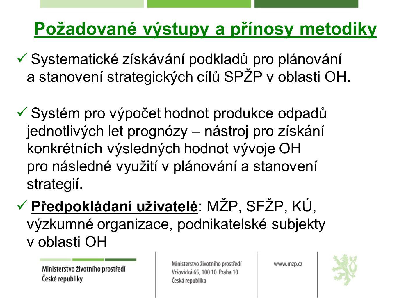 Požadované výstupy a přínosy metodiky Systematické získávání podkladů pro plánování a stanovení strategických cílů SPŽP v oblasti OH. Systém pro výpoč