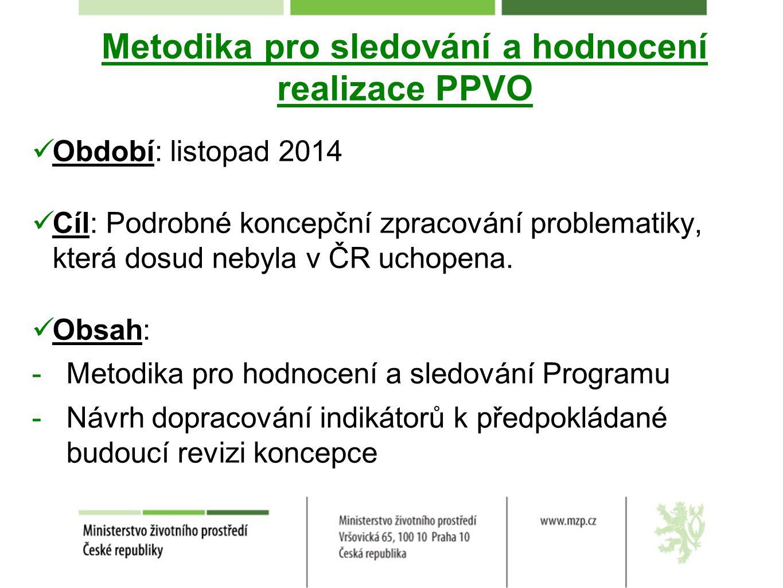 Metodika pro sledování a hodnocení realizace PPVO Období: listopad 2014 Cíl: Podrobné koncepční zpracování problematiky, která dosud nebyla v ČR uchop