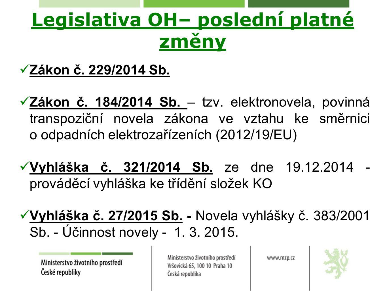Legislativa OH– poslední platné změny Zákon č. 229/2014 Sb. Zákon č. 184/2014 Sb. – tzv. elektronovela, povinná transpoziční novela zákona ve vztahu k