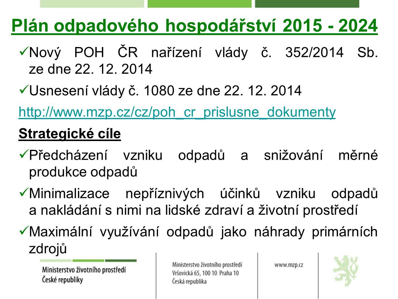 Plán odpadového hospodářství 2015 - 2024 Nový POH ČR nařízení vlády č. 352/2014 Sb. ze dne 22. 12. 2014 Usnesení vlády č. 1080 ze dne 22. 12. 2014 htt