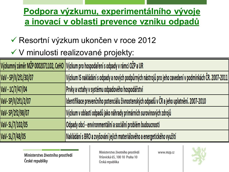 Podpora výzkumu, experimentálního vývoje a inovací v oblasti prevence vzniku odpadů Resortní výzkum ukončen v roce 2012 V minulosti realizované projek