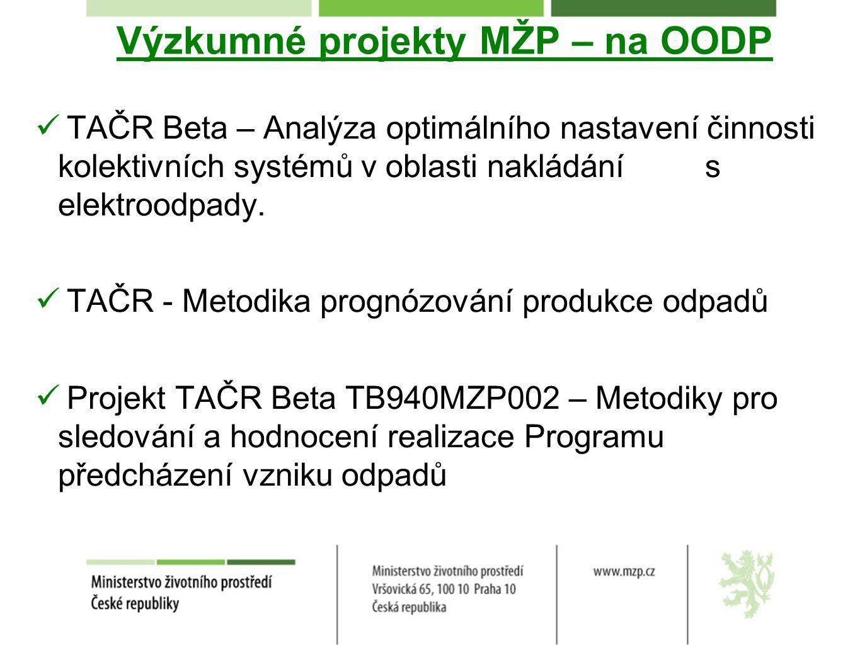 Výzkumné projekty MŽP – na OODP TAČR Beta – Analýza optimálního nastavení činnosti kolektivních systémů v oblasti nakládání s elektroodpady. TAČR - Me