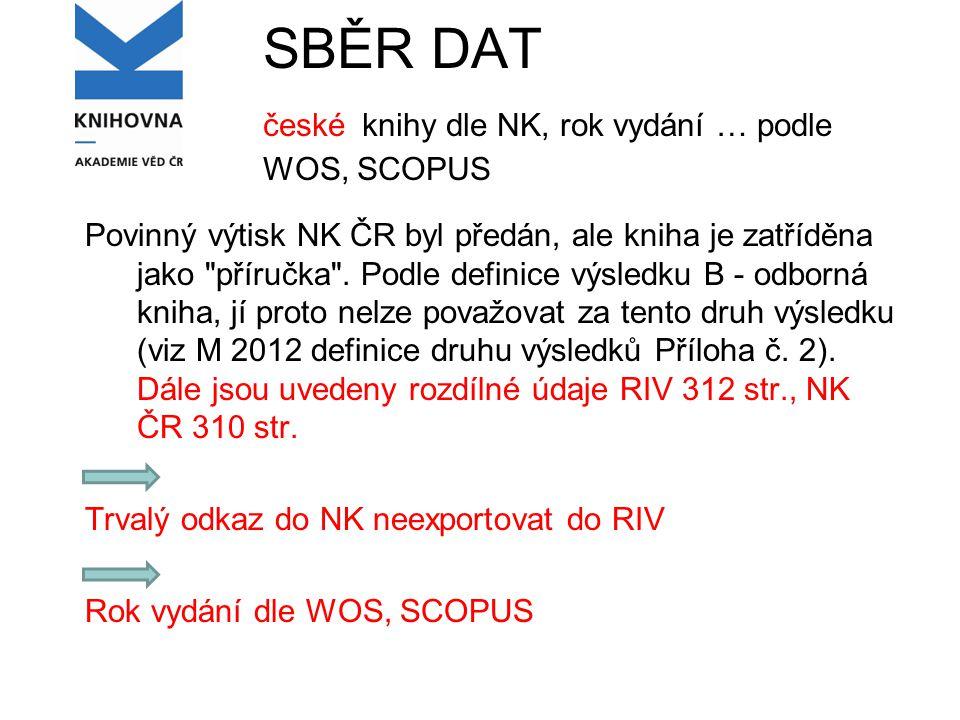 SBĚR DAT české knihy dle NK, rok vydání … podle WOS, SCOPUS Povinný výtisk NK ČR byl předán, ale kniha je zatříděna jako příručka .