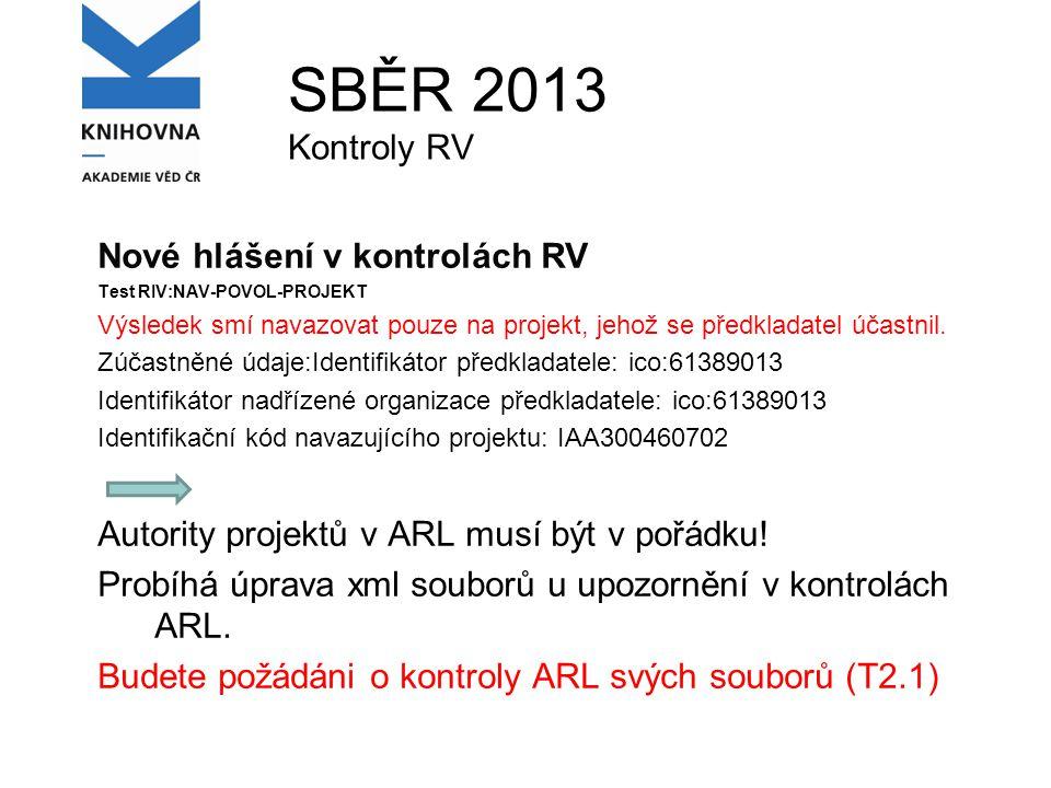 SBĚR 2013 Kontroly RV Nové hlášení v kontrolách RV Test RIV:NAV-POVOL-PROJEKT Výsledek smí navazovat pouze na projekt, jehož se předkladatel účastnil.