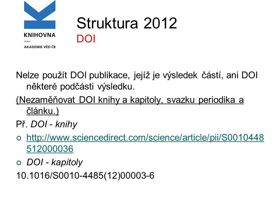 Struktura 2012 DOI Nelze použít DOI publikace, jejíž je výsledek částí, ani DOI některé podčásti výsledku.