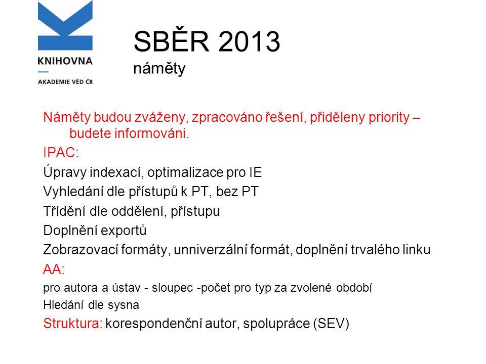 SBĚR 2013 náměty Náměty budou zváženy, zpracováno řešení, přiděleny priority – budete informováni.