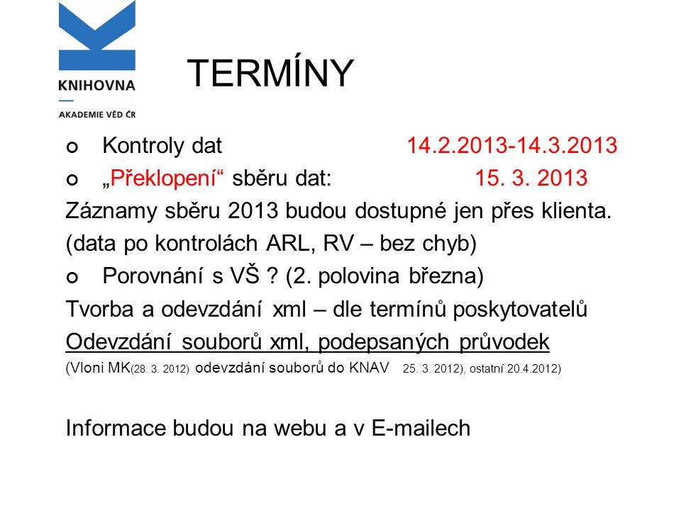 """TERMÍNY Kontroly dat14.2.2013-14.3.2013 """"Překlopení sběru dat: 15."""