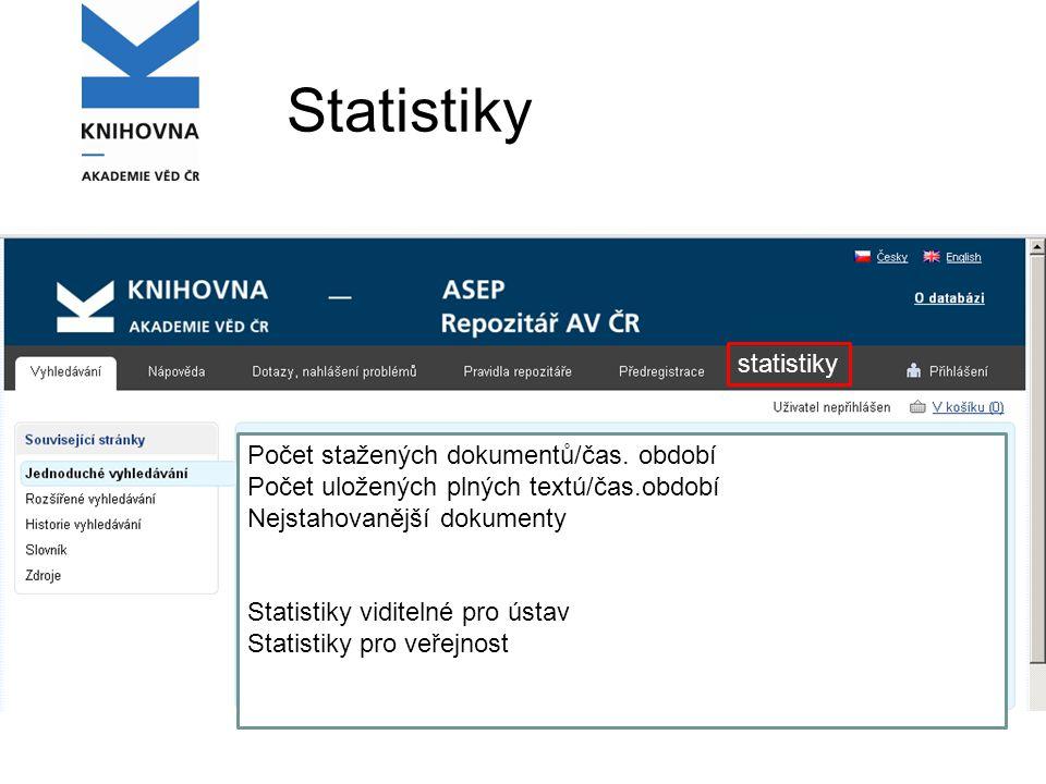 Statistiky statistiky Počet stažených dokumentů/čas.