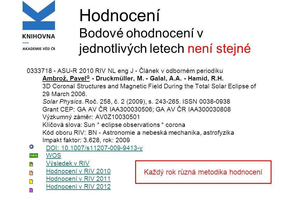 Hodnocení, sběr dat RIV Informace o aktualitách na RV, je možno si nechat zasílat mailem: www.vyzkum.cz Metodika hodnocení 2013 není dosud známa.