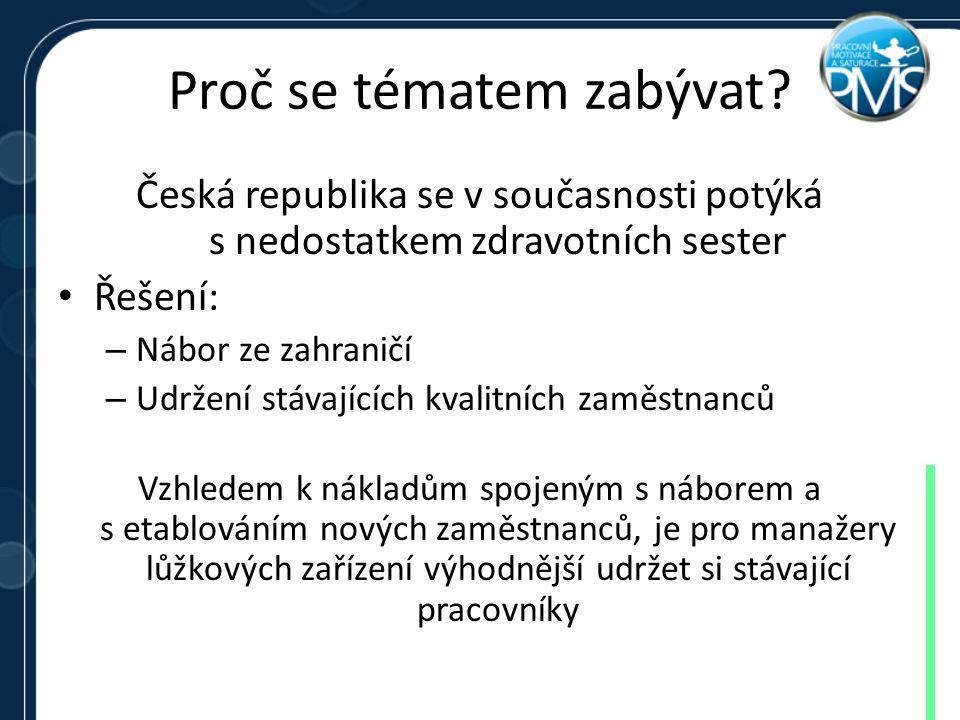 Proč se tématem zabývat? Česká republika se v současnosti potýká s nedostatkem zdravotních sester Řešení: – Nábor ze zahraničí – Udržení stávajících k