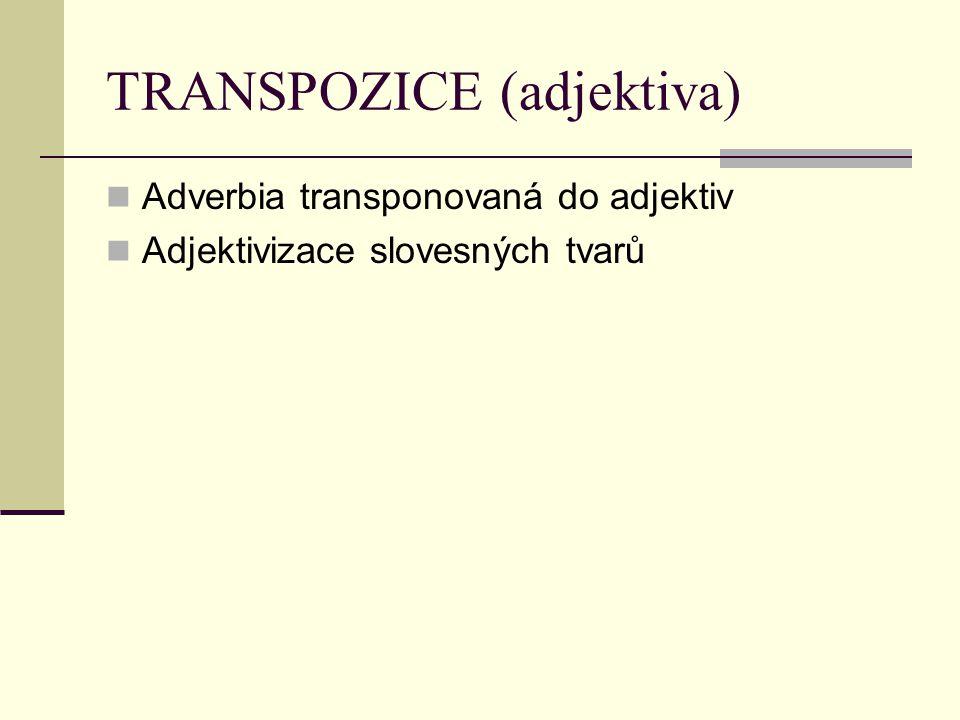 TRANSPOZICE (adjektiva) Adverbia transponovaná do adjektiv Adjektivizace slovesných tvarů
