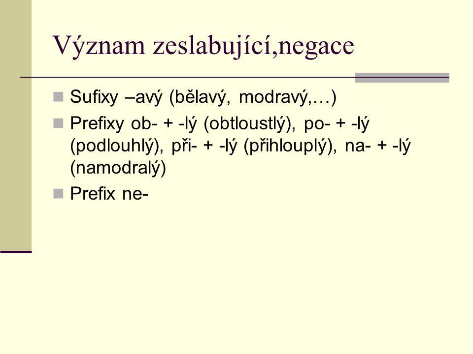Význam zeslabující,negace Sufixy –avý (bělavý, modravý,…) Prefixy ob- + -lý (obtloustlý), po- + -lý (podlouhlý), při- + -lý (přihlouplý), na- + -lý (n