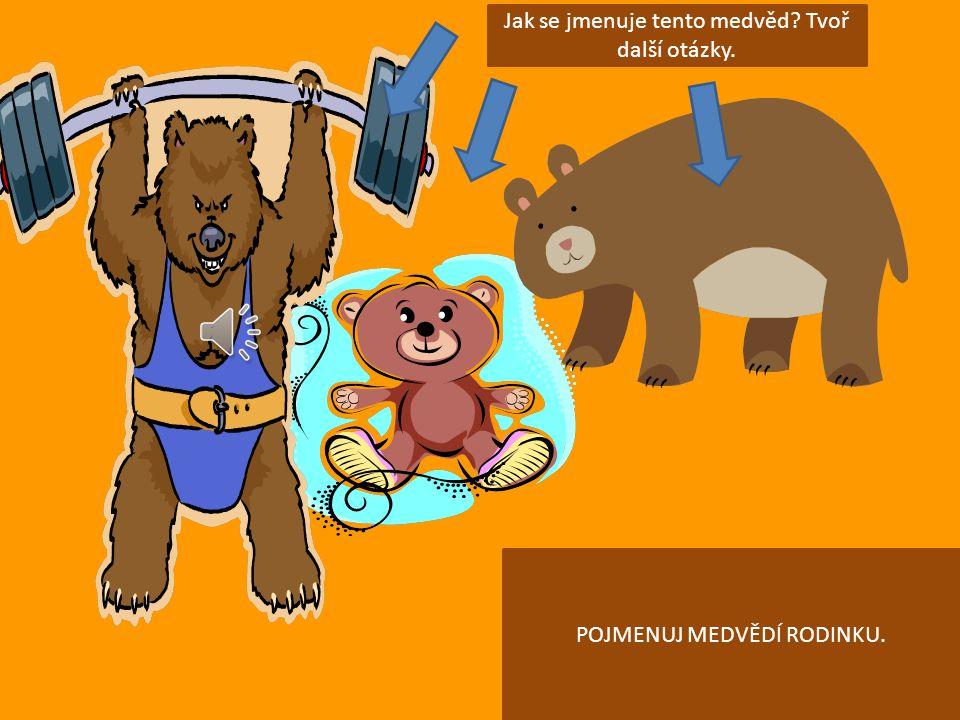 POJMENUJ MEDVĚDÍ RODINKU. Jak se jmenuje tento medvěd? Tvoř další otázky.