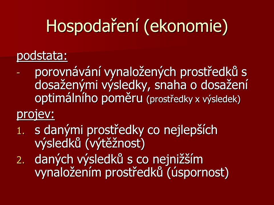 Hospodaření (ekonomie) podstata: - porovnávání vynaložených prostředků s dosaženými výsledky, snaha o dosažení optimálního poměru (prostředky x výsledek) projev: 1.