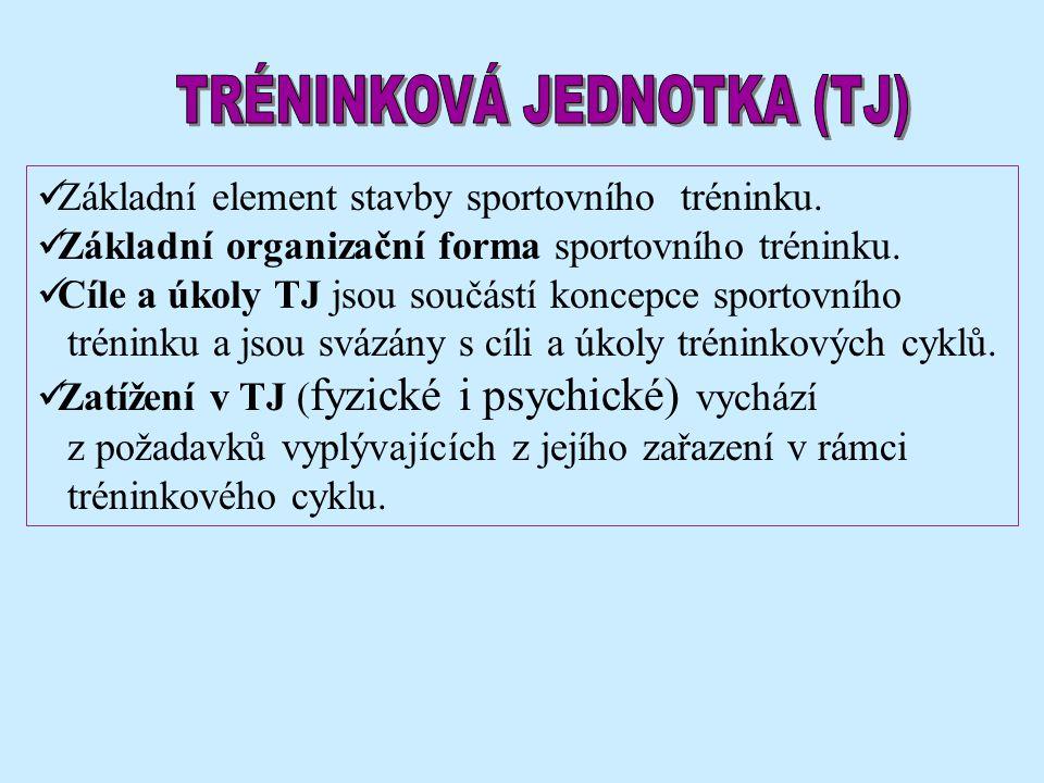Základní element stavby sportovního tréninku. Základní organizační forma sportovního tréninku.